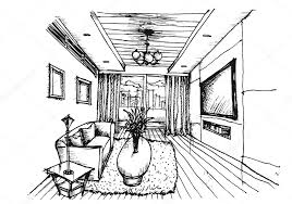 interior design hand drawings. Hand Drawing Interior Design For Living Room \u2014 Stock Vector Drawings L