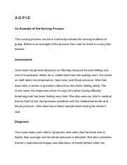 Adpie Charting A D P I E Docx Adpie An Example Of The Nursing Process The