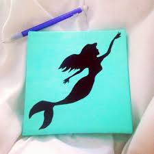 Diy Canvas Painting Diy Mermaid Canvas Painting Maybe With An Ariel Quote Underneath