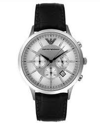 armani watches emporio armani watches cheap armani watches mens men s chronograph black leather from emporio armani