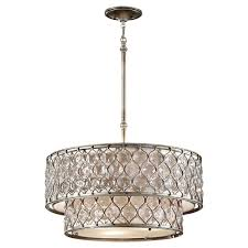 feiss lucia 6 light burnished silver large pendant
