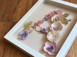 Paper Flower Frame Monogram Paper Flowers Frame Initial Name Baby Gift Room Etsy