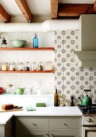 injecting pattern and vintage appeal into this brooklyn kitchen ceramic tiles are the perfect contrast