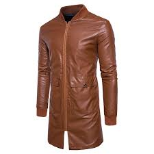 mens mid long faux leather baseball collar jacket fit coat cod