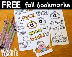 Free Fall Bookmarks A Teachable Teacher