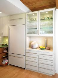 white fridge in kitchen. inspiration for a modern kitchen remodel in los angeles with paneled appliances white fridge w