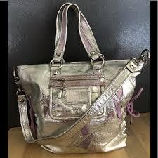 COACH Poppy Medium Silver Metallic Star Handbag