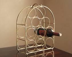 Vintage metal brass wine rack / mid century modern bar decor - holds 9  bottles