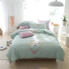 60s egyptian cotton embroidered duvet cover set le modern bedding set king queen size blue green