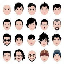 男男性顔頭毛のヘアスタイル ストックベクター Leremy 5476069