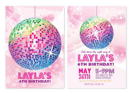 Childrens Disco Invitations Disco Personalised Party Invitations Custom Printed In