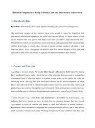 research proposal on a study of social class and educational research proposal on a study of social class and educational achievement 1 survey methodology psychology cognitive science