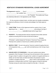 Residential Lease Contract Free Kentucky Rental Lease Agreements Pdf Word Rtf