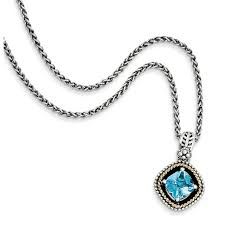 shey couture sterling silver w 14k swiss blue topaz necklace