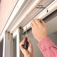 cut the paint or varnish line on the room side of the stop molding so the molding will pull off cleanly if the door