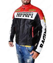 ferrari zip up leather jacket