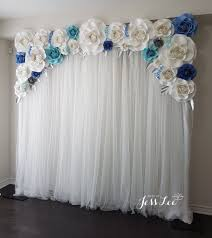 Light Blue Backdrop Curtain White Blue And Silver Paper Rose Backdrop Perfect For A