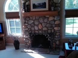 cobblestone fireplace - Google Search