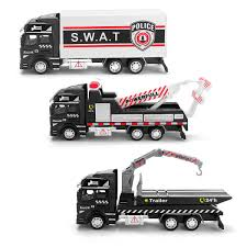 1:48 scale alloy car model toys kid mini rescue police tow truck ...