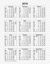 Week Number Calendar 2019 Calendar Png Hd 2019 Fiscal Calendar With Week