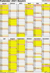 Jahreskalender 2021 für excel a4 querformat. Kalender 2021 Bayern Ferien Feiertage Pdf Vorlagen