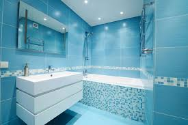 Stylish Interior Design of Chic Blue Bathroom Ideas applied on the Wall  Decoration
