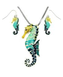 di boutique large beautiful seahorse pendant and necklace and earrings set with 24 chain gift