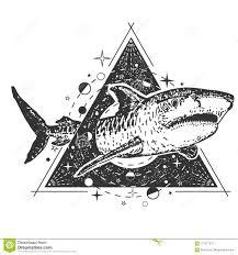 татуировка акулы вектора геометрические или дизайн печати футболки