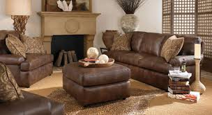 Furniture Cream And Dark Brown Leather Sofa On The Wooden Flooring