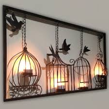 Black Iron Wall Decor Birdcage Tea Light Wall Art Metal Wall Hanging Candle Holder Black