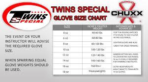 Twins Special Glove Size Chart Chuxx Martial Arts