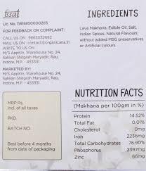 Makhana Nutrition Chart Prod Makhana Organicana