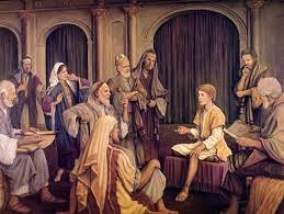 Boy Jesus in the Temple teaching Jewish religious doctors. By Joseph Costa