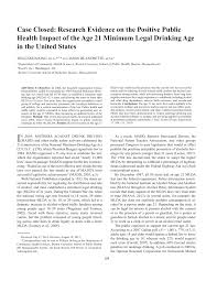 Research United 21 Of States On Public Case pdf Health The Closed In Drinking Evidence Minimum Positive Impact Legal Age