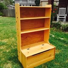 solid wood storage toy box and bookshelf combo design