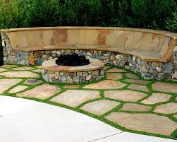 flagstone patio with grass. Design Ideas For A Mediterranean Stone Landscaping In San Diego With Fire Pit. Flagstone Patio Grass B