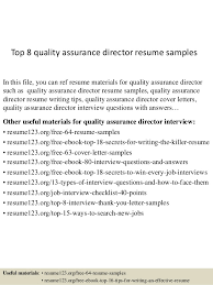 top 8 quality assurance director resume samples in this file you can ref resume materials quality assurance resume example