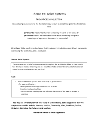 thematic essay belief systems theme 3 belief systems essay