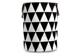 Ferm Living オーガニックコットン100 ランドリーバスケットかご 直径40高さ60cm Triangleデンマークブラン