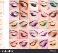 set of colorful make up on closed eyes vibrant colors very clean