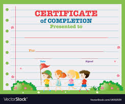 Certificate Template With Kids Walking In The Park
