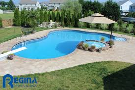 inground pools with diving board and slide. Lagoon-shaped Vinyl Liner Swimming Pool With Diving Board And Overflow Hot Tub Located In Inground Pools Slide L