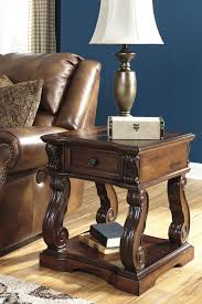 Living Room Furniture Kansas City Alymere Rustic Brown Square End Table Leather Furniture And Style