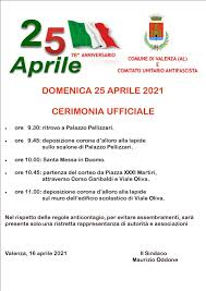 25 APRILE 2021 - 76° ANNIVERSARIO DELLA LIBERAZIONE - Città di Valenza