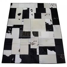 white black patchwork cowhide rug