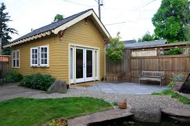This tiny backyard cottage in Portland, Oregon, is likely a converted garage.  It