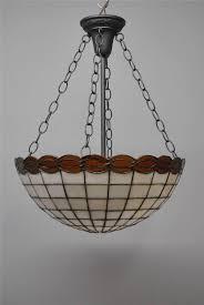 vintage bent slag leaded glass chandelier pendant light