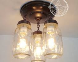 etsy lighting. Flush Mount Ceiling Light MASON JAR LIGHT New Quart Trio - Fan Fixture Rustic Farmhouse Pendant Etsy Lighting I