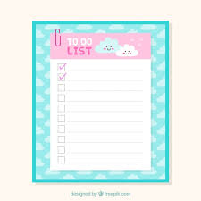 Cute Template Cute Checklist Template With Clouds In Flat Design Vector Free