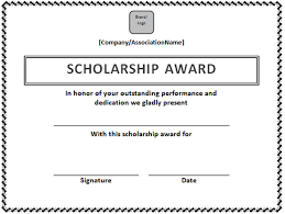 scholarship templates scholarship certificate template in word format microsoft office